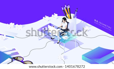 Woman Sit At The Glass Table. Conceptual Multitask Office Stress Illustration. Trendy 3d Isometric Vector Illustration. Web Template For Editors, Writers, Copywriters, Consultants.