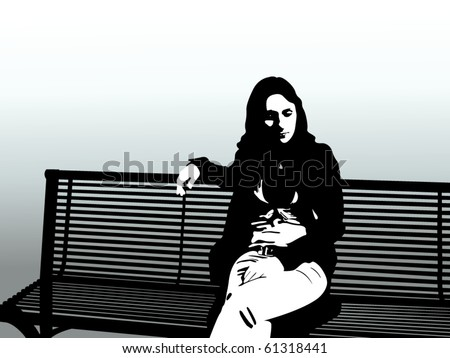 woman siting on a bench