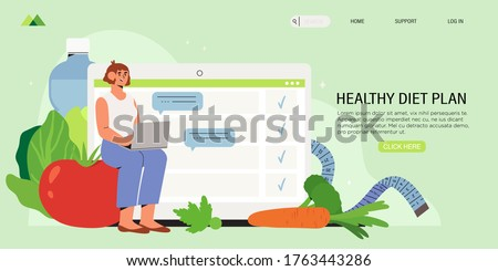 Woman sits with laptop and plans her diet in online diary. Concept of healthy eating, personal diet or nutrition plan from dieting expert or online nutrition course or marathon preparation, for social media banner.