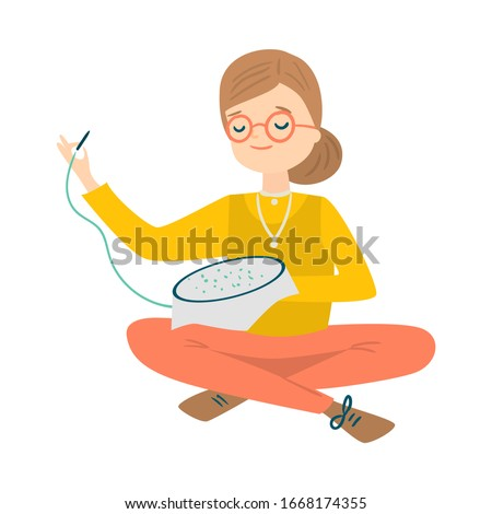 Woman sitting and cross stitching vector illustration