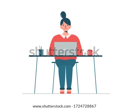 Woman sitting at desk with laptop and working from home. Home office, e-learning, webinar concept. Girl looking for job online. Cute vector illustration in flat style isolated on white background