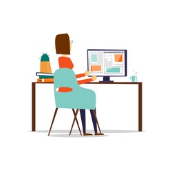 Woman sitting at the table and working on the computer back view, on an isolated background. Flat design vector illustration.