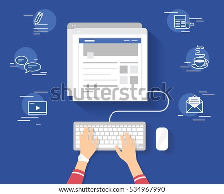 Woman sitting at the table and working with laptop in social networks with social media symbols. Flat illustration top view of people working at home using laptop and typing something for blog