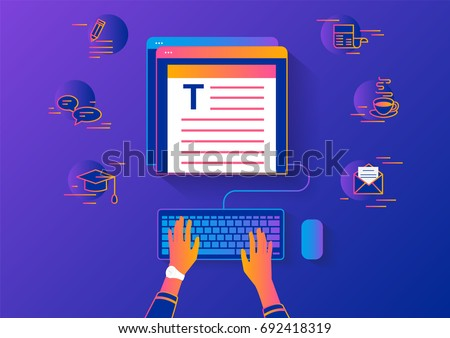 Woman sitting at the table and working with laptop in social networks with social media symbols. Gradient line vector illustration top view of people using laptop and typing something for blog