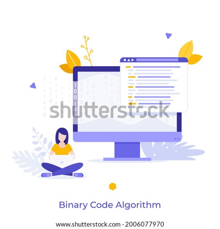 Woman sitting cross-legged and working on laptop, computer display, zero and one symbols. Concept of binary code algorithm, encoding data, software development. Flat vector illustration for banner. Stock foto ©