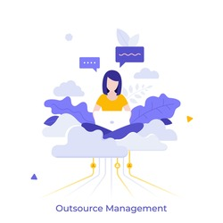 Woman sitting cross-legged on cloud and working on laptop computer. Concept of professional outsourcing, outsourced management function or operation.Modern flat colorful vector illustration for banner