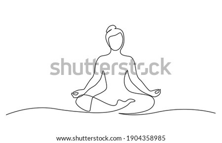 Woman sitting in lotus pose yoga. Continuous one line drawing. Vector illustration Foto stock ©