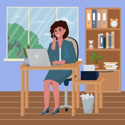 Woman sitting in office interior, working. Talking on phone and smiling. Detailed workplace with laptop. Employer, business woman concept. Positive, bright stock vector illustration