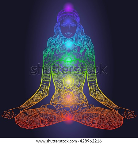 Woman sitting in yoga lotus pose with Tattoo mehendi zentangle ornamental vintage pattern. Meditation, aura and chakras. Vector illustration. Neon glowing colors
