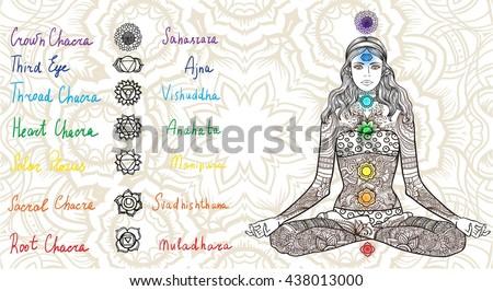 woman sitting in yoga lotus pose with tattoo mehendi
