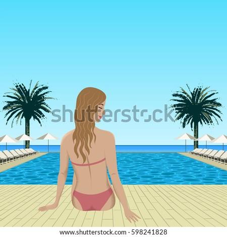 woman sitting near swimming