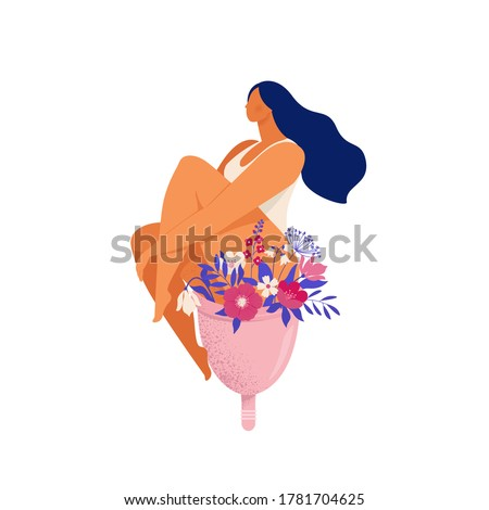 Woman sitting on a huge menstrual cup with flowers and leaves. Eco protection for woman in critical days. Vector illustration on white background.