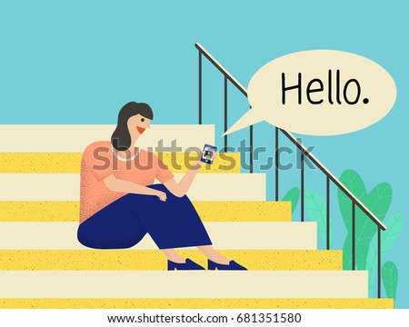 woman sitting on stairs and