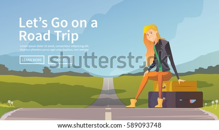 woman sitting on suitcases near