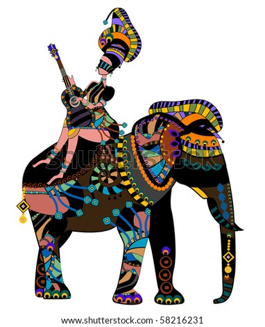 woman sitting on the back of an elephant in ethnic style