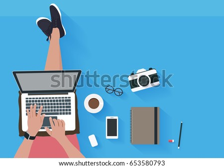Woman Sitting On The Floor And Working With Laptop. Flat Illustration Top  View Of Relaxing