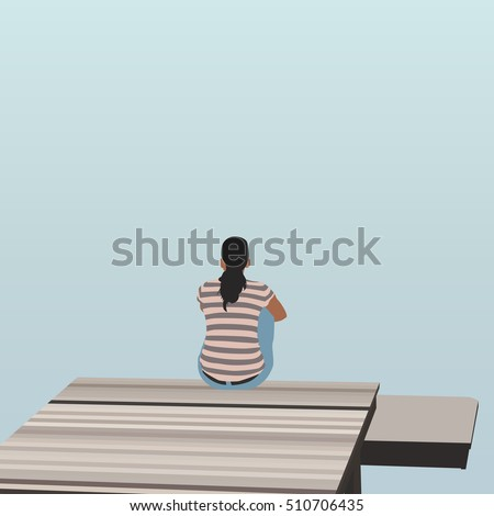 woman sitting on wooden pier on
