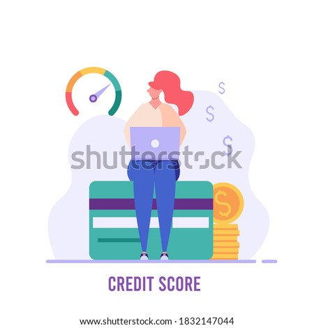 Woman sitting with laptop and checks the credit score. Concept of banks, dispensing money, credit report, mortgage, payment history, cash.  Vector illustration in flat design. Stock photo ©