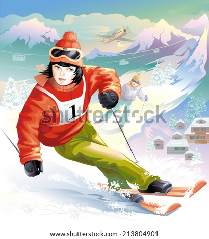 woman skier. winter sports. Olympic games
