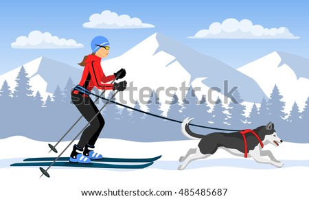 woman skijoring with her dog