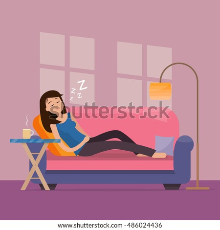 woman sleep on sofa in room