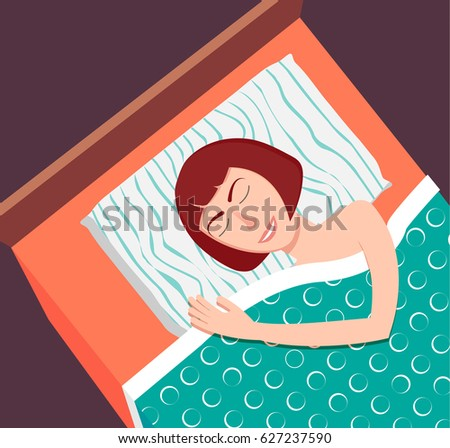 Woman sleeping on her side alone in bed in modern flat style for web banners and info graphics. Sweet dreams. Fall a sleep
