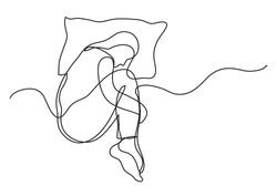 woman sleeping on pillow - single line drawing