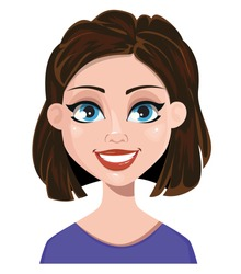 Woman smiling. Female emotion, face expression. Cute cartoon character. Vector illustration isolated on white background.