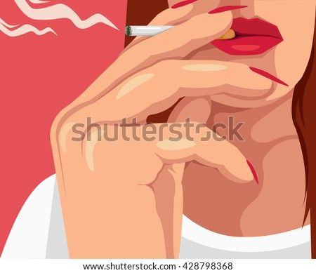 woman smoking cigarette vector