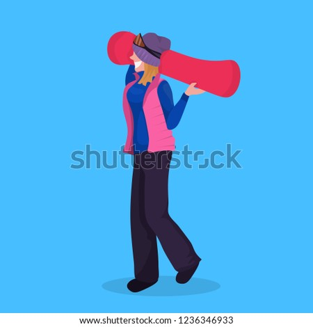 2d97464935f woman snowboarder holding snowboard winter vacation activity female cartoon  character full length flat