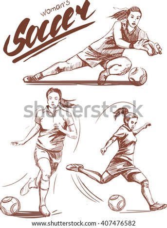 woman soccer players vector