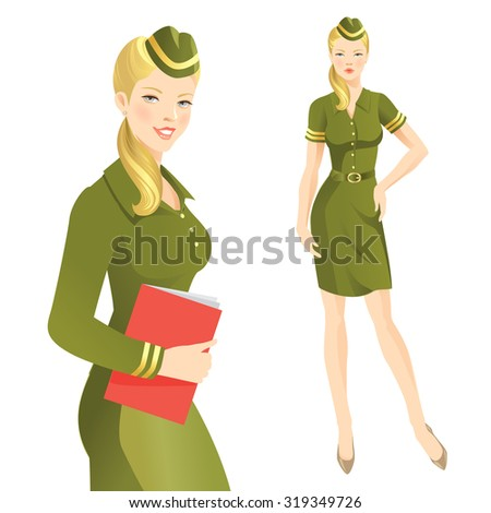 woman soldier in formal dress