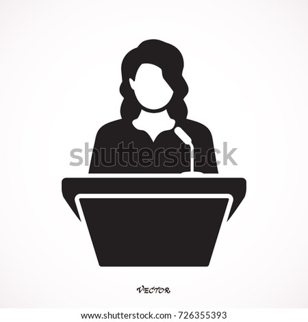 woman speaker icon. orator speaking from tribune vector flat style colorful illustration