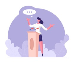 Woman Speaker Standing Behind of Podium with Microphones Speaking with Speech Bubble. Presidential Election, Candidate Balloting, Public Lecture, Political Discussion. Cartoon Flat Vector Illustration