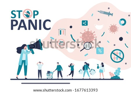 Woman speaker use megaphone. Media and social networks talk about spread of virus and disease. Video blog, Covid-19 Infodemic concept. People panic. News about viral infection pandemic. Trendy vector