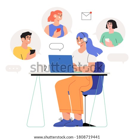 Woman specialist with microphone and headphones from customer service working on laptop in office helping guests. Concept of  online support or assistance , call center or e-commerce banner.