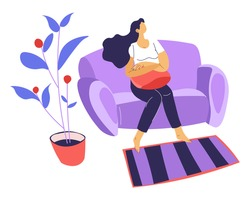 Woman spending time at home, female character sitting in living room. Sad or unhappy character alone in house. Boredom during quarantine lockdown. Weekends or relaxation, vector in flat style