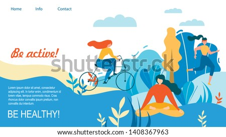 Woman Sport Training Outdoors. Be Active and Healthy Vector Illustration. Cartoon Girl Cycling, Running, Ride Bicycle. Meditation Yoga Sport Exersice. Park Tree Nature. Fit Female Person Workout