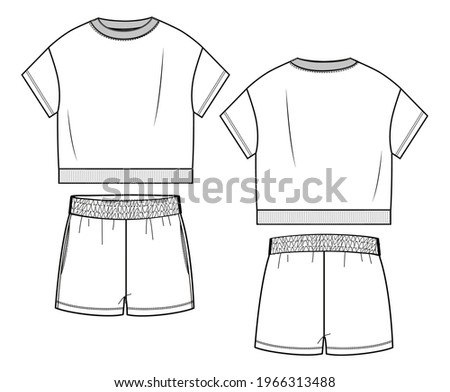 Woman sport wear set in vector graphic. Oversize crop tshirt with short sleeves, crew neck,rib ans woman cut knit shorts with front pockets.Fashion isolated illustration template.Scheme front and back Stockfoto ©