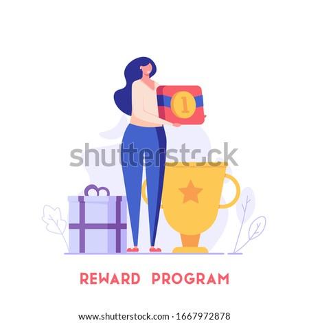 Woman standing and holding gold medal. Reward program and receiving rewards. Concept of earn reward loyalty, bonus, business award. Vector illustration for UI, mobile app