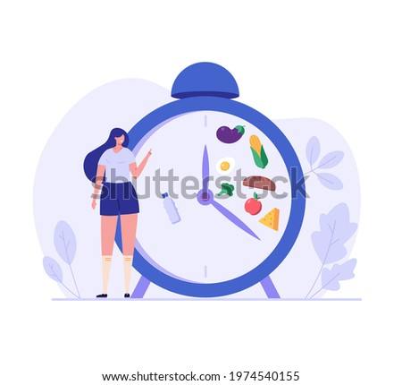 Woman standing food intake clock, diet food set. Concept of fasting, intermittent fasting, diet, diet plan, proper nutrition, dream figure, fitness, healthy food. Vector illustration in flat design