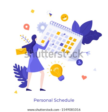 Woman standing in front of calendar or planner and managing his personal schedule or timetable. Concept for time management, effective planning, scheduling. Modern flat cartoon vector illustration.