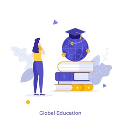 Woman standing in front of pile of books and globe with graduation cap. Concept of global education, study abroad, international student exchange program. Modern flat vector illustration for banner.