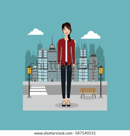 woman standing in the city with