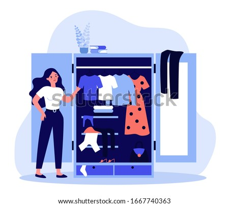 Woman standing near opened closet and looking at dresses flat vector illustration. Pile of clothes laying in wardrobe. Organization and arrangement concept.