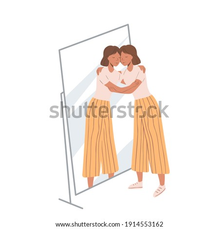 Woman standing near the mirror and hugging her own reflection. Concept of self-love and self-acceptance. Young girl and her mirroring. Flat cartoon illustration Photo stock ©