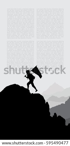 woman standing on a mountaintop holding a flag