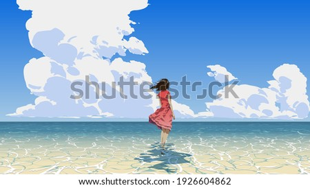 woman standing on the sea looking at the summer sky, vector illustration Photo stock ©