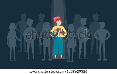 Woman standing out from the crowd. Leader. Individuality