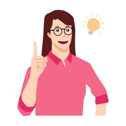 Woman standing thinking get idea. Thoughtful people understand the problem. Happy young woman find successful solution. Vector flat illustration